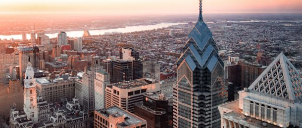 Aerial shot of sunrise in Philadelphia