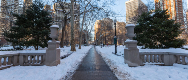 Snow Covered Rittenhouse Square in Philadelphia, PA